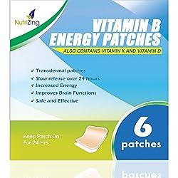 NutriZing Parches de Suplemento Vitamínico B12 ? Lo mejor para aumentar la energía y la claridad mental ? Para Hombres y Mujeres ? Ideal, Simple y Fácil de Aplicar ? Alta resistencia - 5000mcg Metilcobalamina ? También contiene Vitamina K y D
