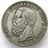 Rare Antique Ancient European German 1901 Germany 5 Mark States Baden - Friedrich I Europäische Silver Color Coin Seltene Münze