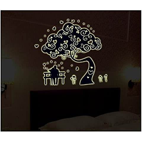 T-Mida Home Adesivi fluorescenti luce notte coppia albero bianco estetica di PVC parete adesivo-gratuita (60 (Notte Bagno Luce Decor)