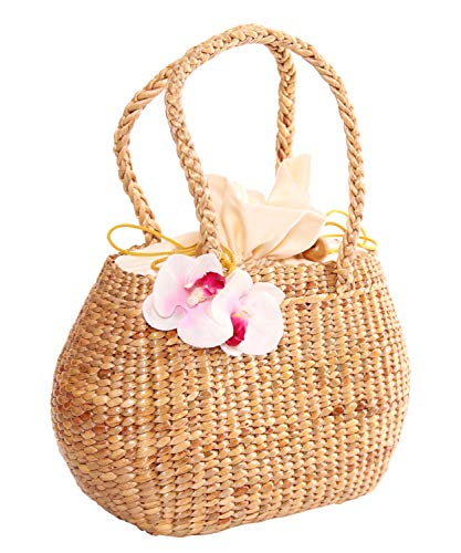 SugarShock Palila Orchideen Bast Damen Korb Handtasche, Farbe:natur -