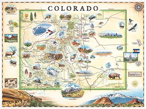Red Rocks In Colorado (Colorado Map Wall Art Poster - authentische handgezeichnete Karten in der Alten Welt, antiker Stil, Art Deco, Lithographischer Druck)