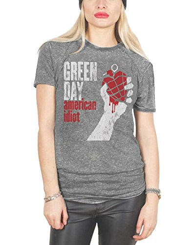 American Womens Light T-shirt (Green Day T Shirt American Idiot offiziell damen Nue Grau Skinny Fit Burnout)