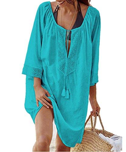 L-Peach Damen Bikini Cover Up Sommer Lose Baumwolle Spitze Tunika Langes Shirt Überwurf Baumwolle Strandkleid Sommerkleid One Size -