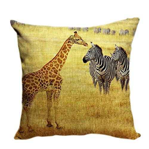 Violetpos Kissenhülle Deko Sofa Zierkissenbezug Auto Zierkissenbezüge Kissenbezüge Kopfkissen Kissen Afrikanische Tierwelt Giraffe Zebra Prärie 40 x 40 cm