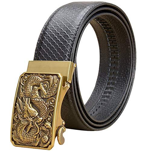 AH - Cinturón Hombres Genuino Dragón Oro Tamron Automático Sólido Sin Imán Hebilla Real Capa Superior Cuero Vaca Caja Regalo Retro Cinturón (Dragon oro negro,115 cm)