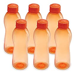 Cello Maxis PET Bottle Set, 1 Litre, Set of 6, Orange