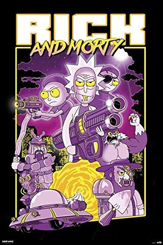 Close Up Póster de Puerta Rick and Morty - Characters/Personajes (61cm x 91,5cm) + 2 Marcos Negros para póster con suspención