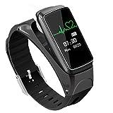 Braccialetto Intelligente Bluetooth Cuffie Combo Pedometro Sport Smart Watch Talk To,Black