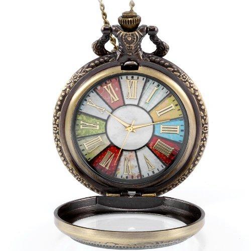 JewelryWe - Reloj de bolsillo estilo retro r rueda Roma Steampunk reloj de bolsillo colgante cadena...