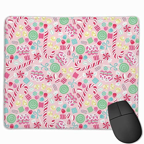 ASKSSD Non-Slip Mouse Pad Rectangle Rubber Mousepad Candy Cane Pink Print Gaming Mouse Pad