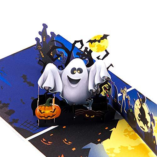 3D Pop Up Halloween Karte Geister Kürbis Fledermaus handgefertigt Grußkarte mit Umschlägen, 10 Stück