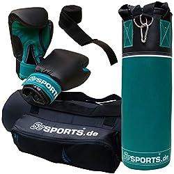 ScSPORTS Boxsack-Set, für Kinder und Jugendliche, mit Boxhandschuhen, Boxbandagen und Tasche, 5,5 kg, petrol blau schwarz