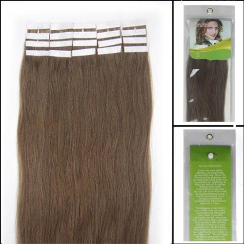 45,7 cm Bandes adhésives Extensions de cheveux humains droite Couleur 08 Marron 40 g 20 pièces Beauté Cheveux Style