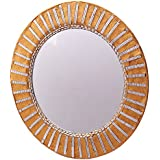 Anasa Decor Decorative Hand Crafted Glass Mirror (30.48 Cm X 3.81 Cm X 30.48 Cm, Golden)