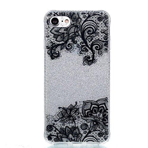 Coque iPhone 7, Cozy Hut® [ Anti-Scratch] Ultra Mince Premium TPU silicone Case [Bling Crystal] ** Eclatant et Brillant ** Glitter Crystal Quartz / Bumper-Style / Anti-choc / Adherence exacte / Sans E black Lace