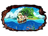 3D Wandtattoo Kinderzimmer Pirat Schiff Schatzkarte Meer Bild selbstklebend Wandbild sticker Wand Aufkleber 11H1405, Wandbild Größe F:ca. 97cmx57cm