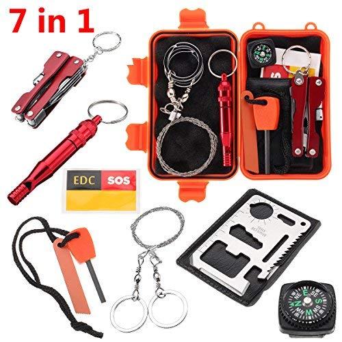 Slimerence kit di sopravvivenza, 7in 1Outdoor camping hiking Tools box set con valigetta, acciarino, fischietto, bussola, leggero, attrezzo multifunzione card, pinze linea dati