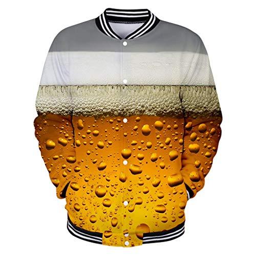 Notdark Herren T Shirt, Hoodie 3D Bier Gedruckt Bequem Gelb Große Größen Mens Lange Ärmel Langarm Rundhalsausschnitt Pullover Tops Männer Beer Print(XL,Orange) Bier-zip Hoodie