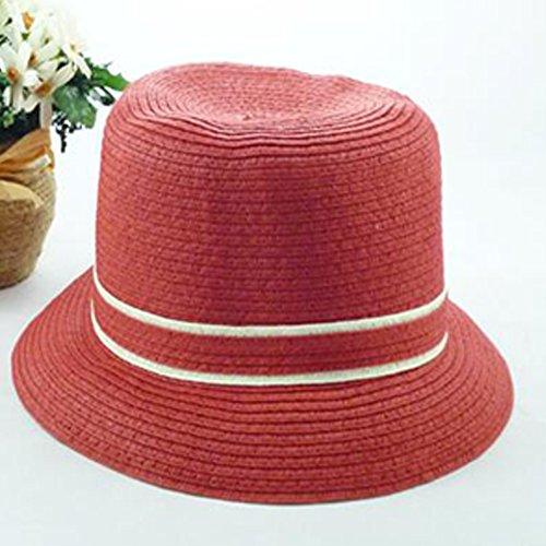 Surker Femmes Mode Bownot Plage Chapeau de paille Chapeau de soleil Rose rouge