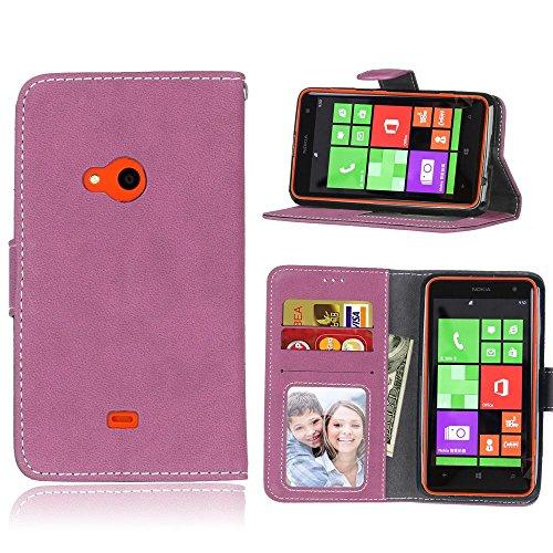 Solid Color Premium PU-Leder Tasche Cover matt Retro Flip-Ständer Case Wallet Fall mit Kartensteckplätze Photo Frames für Nokia Microsoft Lumia 625 ( Color : 2 ) 2