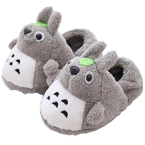 LaiXin Winter Damen Schuhe, Pantoffeln Kinder Warm Plüsch Hausschuhe Antirutsch Slipper Totoro zum Größe:35-44(Grau)