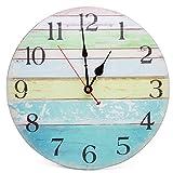 Asvert Reloj de Pared para Cocina Silencioso Retro de Madera Vintage (Díametro 34cm)