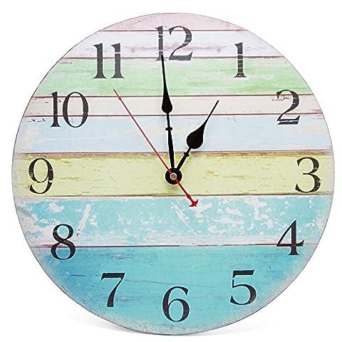 Asvert Horloge Murale Rond en Bois avec Chiffres Style Rustique Vintage Décoration de Salon 14inch
