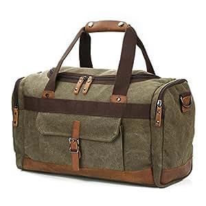 BLUBOON Canvas Reisetasche Vintage Weekender Damen Herren Segeltuch Handgepäck (Armee grün-L)