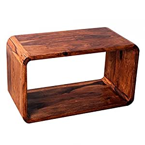 TABLE bASSE eN bOIS dE sHEESHAM mASSIF 70 x 40 cM cUBE tV nATURAL