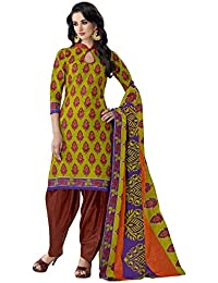 HRINKAR Women's Cotton Salwar Suit Dupatta Dress Material (HRKT1638_Yellow And Pink_Free Size)