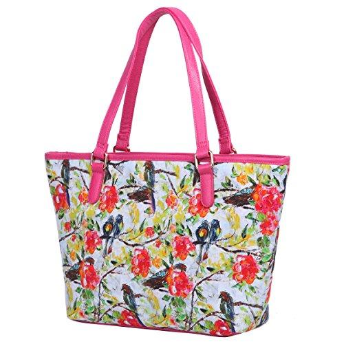 Eshow Borse a tracolla da donna di tela a mano Multifunzione per viaggio sacchetto borsa shopper bag shopping trekking Rose red01