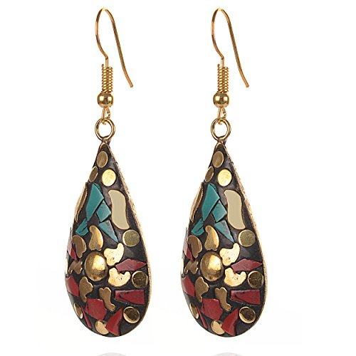 Zephyrr Red, Green Non-Precious Metal Dangle & Drop Earrings For Women