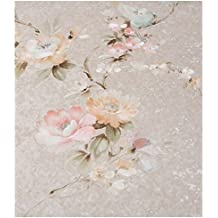 Zambaiti pintado–papel pintado de Vintage y flores de vinilo lavable efecto tela satinado con base Polvos y flores colores de raso en tonos pastel azul rosa amarillo Coral Z4115Satin Flowers