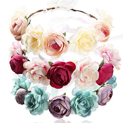 REKYO 3pcs Handgefertigte Blumen Stirnband Floral Krone, Braut Haar Kranz Hochzeit Halo Blumengirlande Stirnbänder Stirnband Mit Band Für Hochzeit Party Foto Requisiten -
