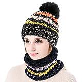 Vbiger Ensemble d'écharpe chaude Bonnet d'hiver avec masque pour femme