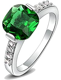 Kaizer 18k White Gold Plated Desiner Ring With Zircon Green Inspired By For Women/Girls (Valentine Special Gift)