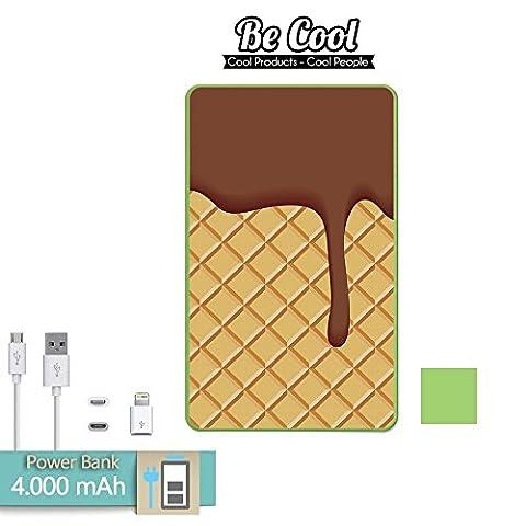 Becool® - Batería Externa Power Bank 4000 mah Grün + Gratis 1 cable USB-MicroUsb (Android) y adaptador lightning (Apple). Keks und Schokolade