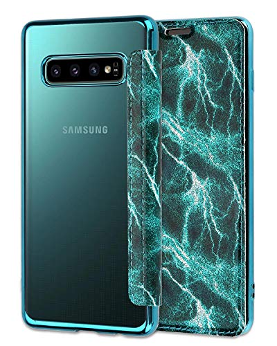 Casetego Compatible Galaxy S10 Hülle,Glitter Shiny Bling Slim PU Leather Folio Flip Case with Card Slot & Clear Soft TPU Back Cover for Samsung Galaxy S10,Green Folio Wallet Leather Case