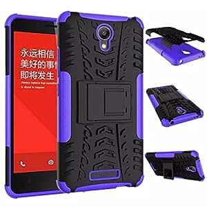 Chevron Kick Stand Spider Hard Dual Heavy Duty Hybrid Bumper Back Case Cover For Xiaomi RedMi Note 2 Prime (Purple)
