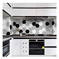 APSOONSELL Black White Retro Tile Tiles Stickers Film PVC Bathroom Toilet Waterproof Wall Stickers 10 Pcs/set