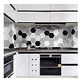 APSOONSELL Fliesenaufkleber Modern Schwarz und Weiß für Küche und Bad Dekorative Stickerfliesen Sechseck ?Länge: 11,5 cm