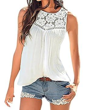 OHQ_Camisetas Mujer Verano Blusas Tops De Encaje Cosido Tops Estampado De Chaleco Hueco Chaleco De Verano De Mujer...
