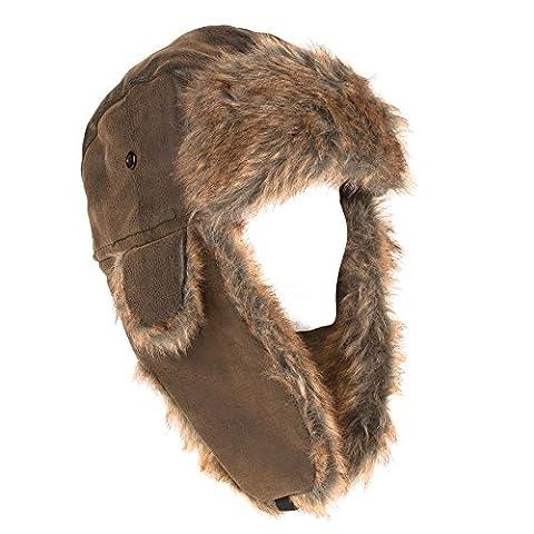 Bonnet de trappeur aviateur fausse fourrure style Russe (Marron, 58 cm)