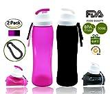 Trinkflasche Silikon zusammenklappbar Weisika 2 Stück Anti-Leckage Mit auslaufsicheren Ventilflaschen Reisen in Freien Wasserflasche