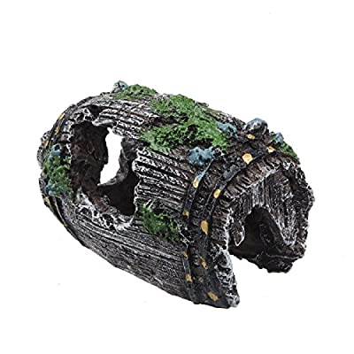 Rcool Home Fish Tank Aquarium Cave Resin Broken Barrel Ornament Landscape Decoration(9*5.5*5cm)
