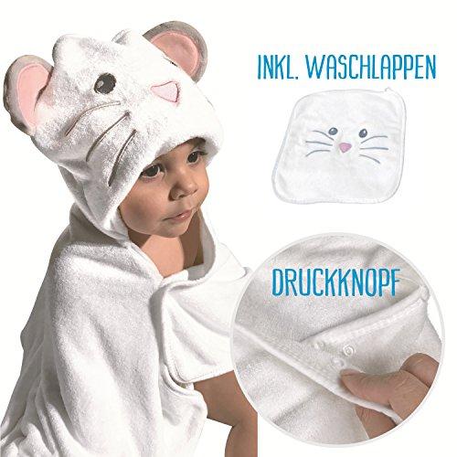 HECKBO® Baby Handtuch Kapuze Maus + gratis Waschlappen | 0-6 Jahre | Neuheit: 2 Druckknöpfe zum flexiblem Verschließen | weiches & saugfähiges Material | Größe: 90x100cm | Kinder Badetuch Bademantel