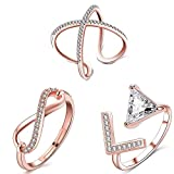 Om Jewells CZ Jewellery Combo of 3 Exquisite Rose Gold Adjustable Party Wear