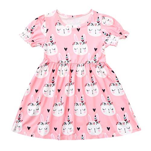 Tyoby Baby Mode Kaninchen-Print-Kleid Mini,Sommer Elegant Prinzessin Rock Anziehen Kleid Kind Kleidung(Rosa,110)
