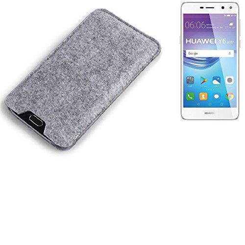 K-S-Trade Filz Schutz Hülle für Huawei Y6 2017 Single SIM Schutzhülle Filztasche Filz Tasche Case Sleeve Handyhülle Filzhülle grau