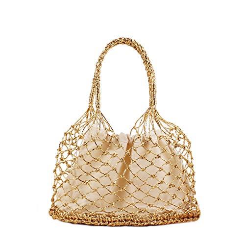 ASAP CHIC Bolso de tejido de paja hueco único para mujer bolso de paja tejido bolso de playa de verano